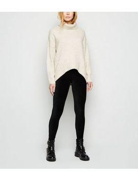Black Ribbed Velvet Leggings by New Look