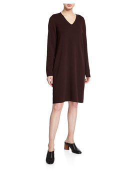 Washed Fine Wool Crepe V Neck Long Sleeve Dress by Eileen Fisher