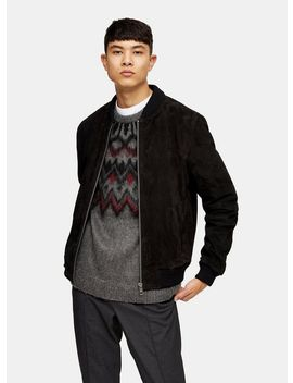 Black Suede Bomber Jacket by Topman