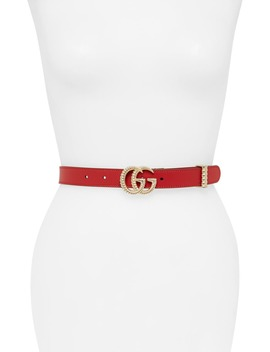 Gg Marmont Calfskin Leather Belt by Gucci