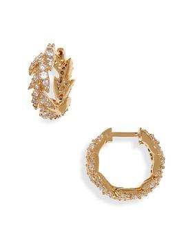 Liv Leaf Huggie Hoop Earrings by Nadri
