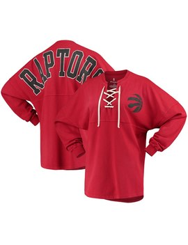 Women's Toronto Raptors Fanatics Branded Red Lace Up Spirit Jersey Long Sleeve T Shirt by Nba Store