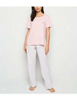 Pink Weekend I Love You Slogan Pyjama Set by New Look