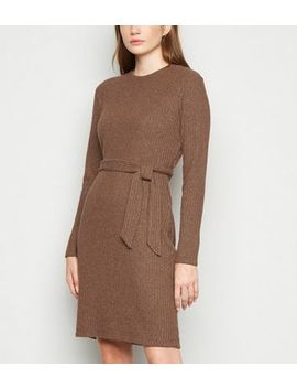 Rust Ribbed Fine Knit Belted Tunic Dress by New Look