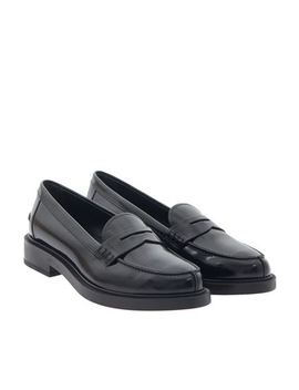 Black Brushed Leather Loafers by Tod's