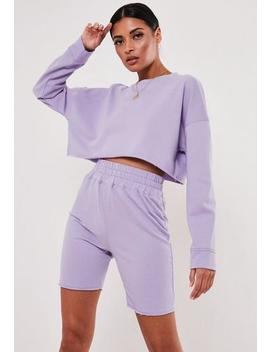 Lilac Cropped Sweatshirt And Shorts Co Ord Set by Missguided