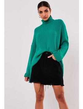 Premium Jade Step Hem Oversized Knitted Jumper by Missguided