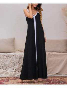 Black &Amp; White A Line Maxi Dress by Z Avenue