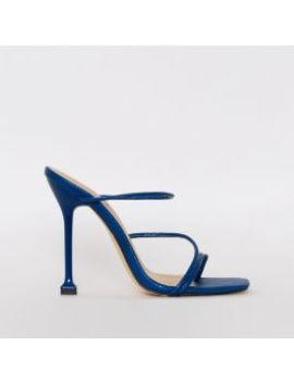 Marni Navy Snake Print Strappy Mule Heels by Simmigirl
