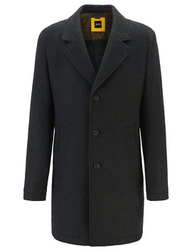 Wool Blend Slim Fit Coat With Pop Colour Lining Wool Blend Slim Fit Coat With Pop Colour Lining by Boss