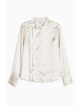 Petite Ecru Satin Scallop Shirt by Topshop