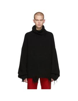 Black Hand Knit Oversize Turtleneck by Mastermind World