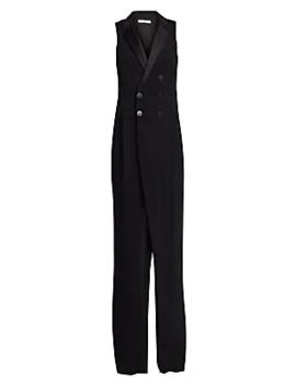 Sleeveless Tuxedo Crepe Satin Jumpsuit by Halston