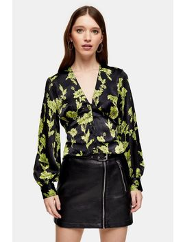 Green Floral Print Blouse by Topshop
