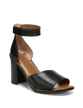 Caia Block Heel Leather Sandals by Franco Sarto