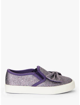 John Lewis & Partners Children's Phoebe Glitter Bow Slip On Shoes, Purple by John Lewis & Partners