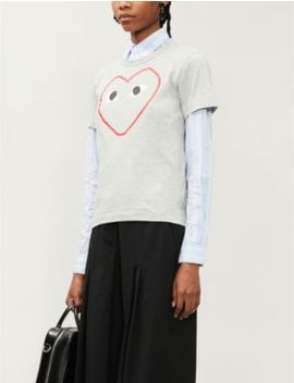 Logo Print Cotton Jersey T Shirt by Comme Des Garcons Play