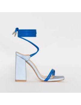 Eli Blue Reflective Lace Up Block Heels by Simmigirl