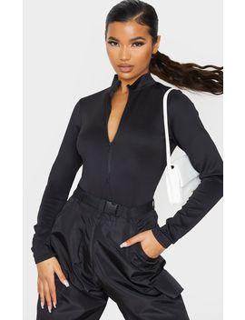 Black Bonded Scuba High Neck Zip Bodysuit by Prettylittlething