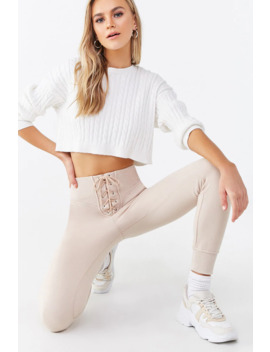 Lace Up French Terry Joggers by Forever 21