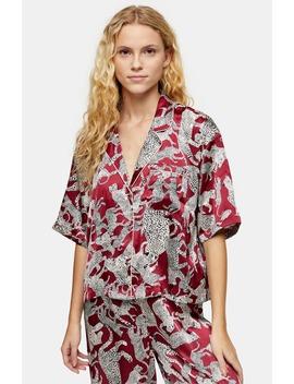 Leopard Print Satin Pajamas by Topshop