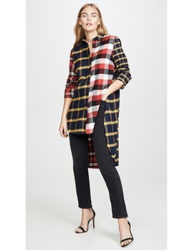Multi Plaid High Low Shirt by Monse