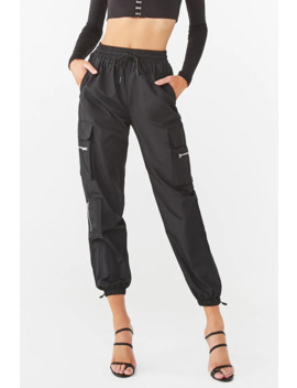 Drawstring Cargo Wind Pants by Forever 21