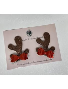 Rudolph Reindeer Glitter Antler Bow Clips by Etsy