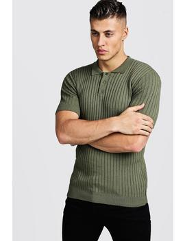 Muscle Fit Ribbed Knitted Polo by Boohoo