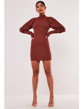 Recycled Rust Rib Puff Sleeve Mini Dress by Missguided