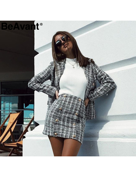 Be Avant Two Piece Set Plaid Tweed Women Suit Casual Streetwear Blazer Suits Female Blazer Sets Office Ladies Blazer Tops 2019 by Ali Express.Com