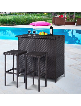 Costway 3 Piece Wicker Outdoor Patio Bar Set With Table & 2 Stools, Brown by Costway