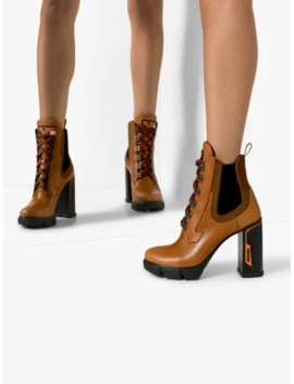 Brown 105 Platform Leather Ankle Boots by Prada