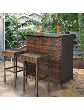 Best Choice Products Wicker 3 Piece Outdoor Bar Set by Best Choice Products