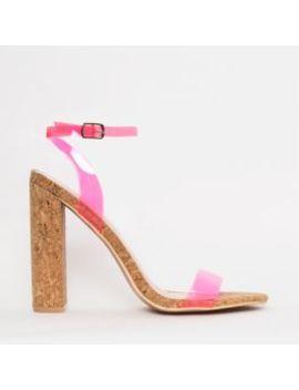 Eleni Neon Pink Clear Cork Block Heels by Simmigirl