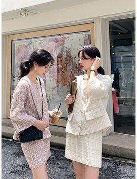Autumn Winter Tweed 2 Piece Set Women Tweed Short Jacket Wool Coat+Bodycon Pencil Skirt Suit Sets by Ali Express.Com