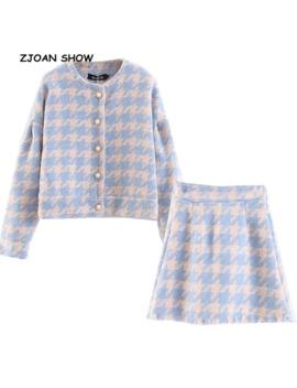 2019 Sweet Women Pearl Button Check Gingham Plaid Blazer High Waist A Line Mini Short Skirts Long Sleeve Suits 2 Pieces Set by Ali Express.Com