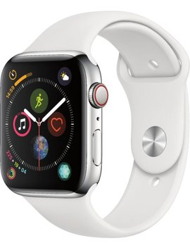 Apple Watch Series 4 (Gps + Cellular) 44mm Stainless Steel Case With White Sport Band   Stainless Steel (Verizon) by Apple