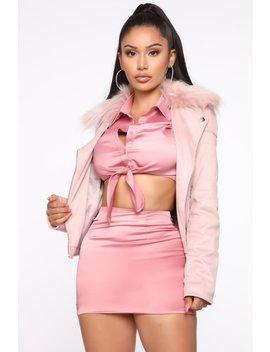 Living Lavishly Moto Jacket   Blush by Fashion Nova
