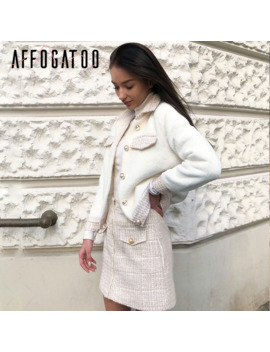 Affogatoo Casual Tweed Faux Fur Coat Skirt Two Piece Suit Sets Women Elegant Office Ladies Autumn Winter Vintage Skirt Sets Suit by Ali Express.Com