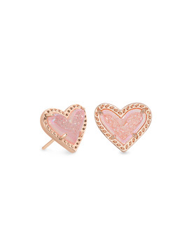 Ari Heart Rose Gold Stud Earrings In Pink Drusy by Kendra Scott