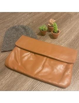 Vintage | Leather | Foldover Clutch Bag | Chestnut by Vintage