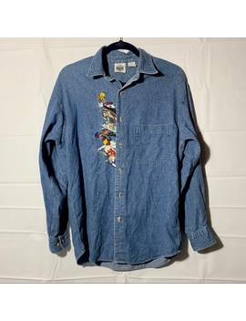 Vintage 90s Looney Tunes Denim Button Up Shirt by Vintage