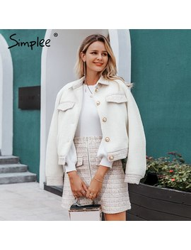 Simplee Two Piece Faux Fur Women Tweed Sets Autumn Winter Female Skirt Sets Patchwork Zipper Buttons Office Ladies Coat Suits by Ali Express.Com