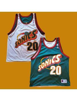 Gary Payton Vintage Champion Reversible Seattle Sonics Basketball Jersey by Etsy
