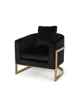 Christopher Knight Home Briarcliff Modern Velvet Glam Armchair With Stainless Steel Frame   Black, Gold by Christopher Knight Home