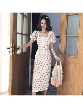 Melekok   Sleeveless Cherry Print A Line Midi Dress by Melekok