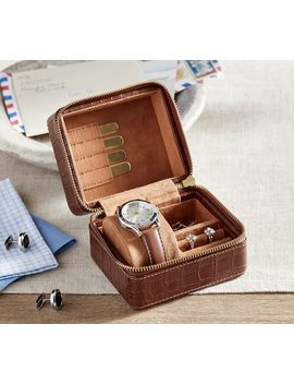 Pierce Leather Travel Zip Box by Pottery Barn