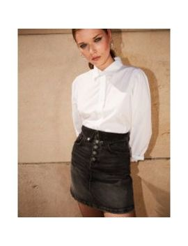 Short Black Denim Skirt W/Fold Over & Buttons by The Kooples