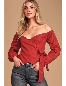 Sweet Looks Wine Red Off The Shoulder Wrap Top by Lulu's